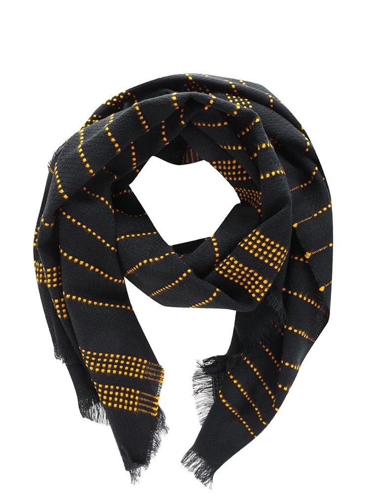 Čierny ľahký šál s prerušovanými žltými pruhmi VERO MODA Lisa