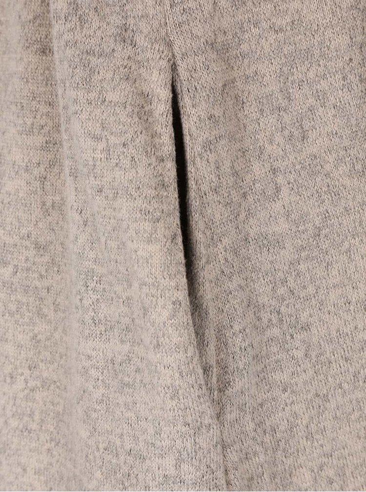 Béžový melírovaný kardigan s opaskom VILA Luna