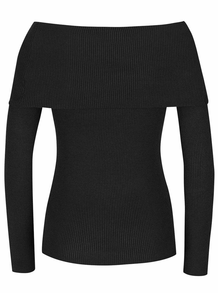 Černý svetr s lodičkovým výstřihem Noisy May Magenta