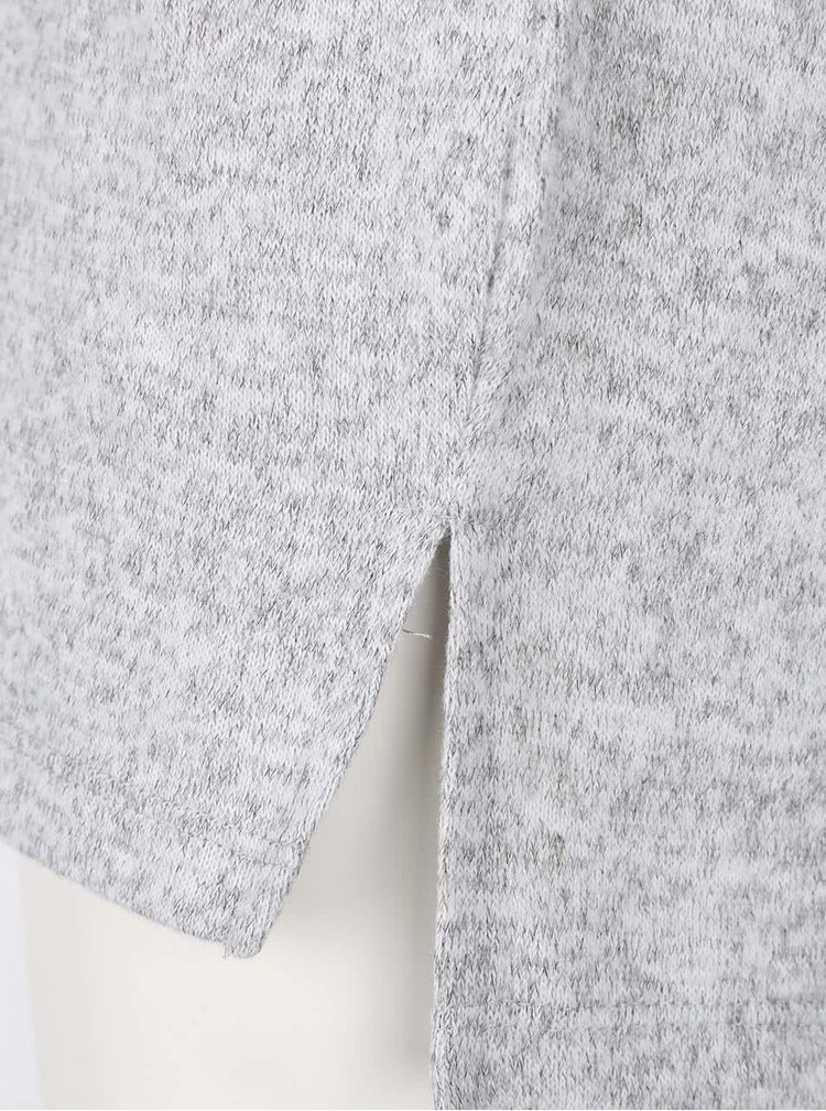Sivý melírovaný ľahký sveter s véčkovým výstrihom VILA Lune