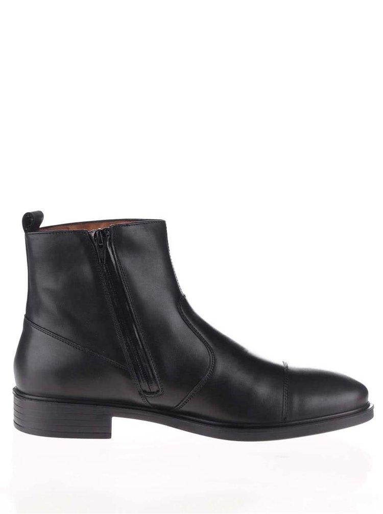 Černé pánské kožené kotníkové boty Geox Loris  4171080562