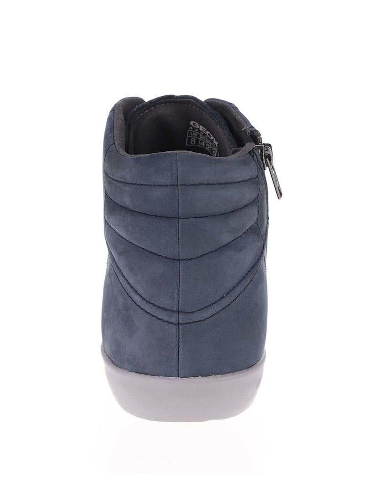 Modré pánské kožené kotníkové tenisky Geox Smart