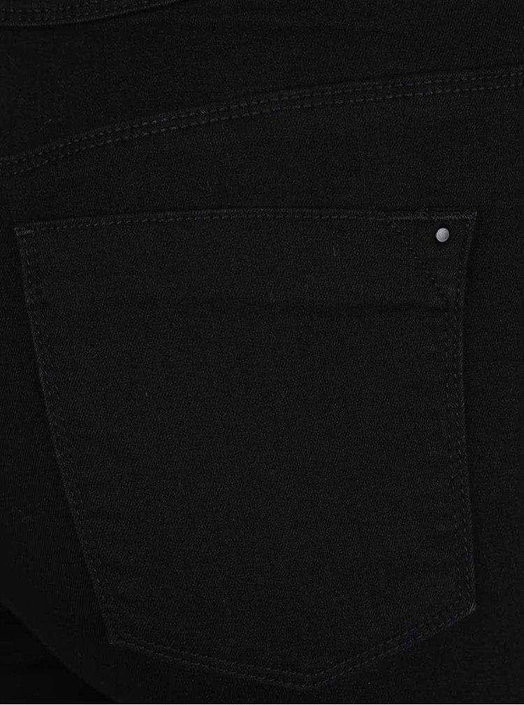 Čierne skinny rifle so zipsami na nohaviciach Dorothy Perkins Curve