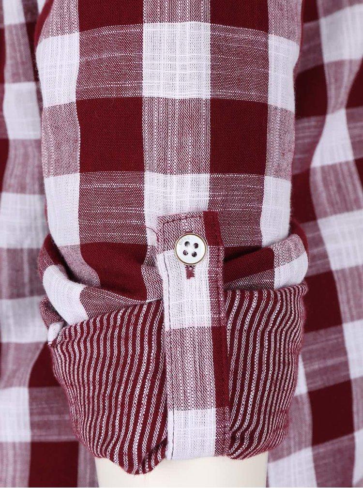 Vínová kockovaná košeľa bez goliera ONLY Casey
