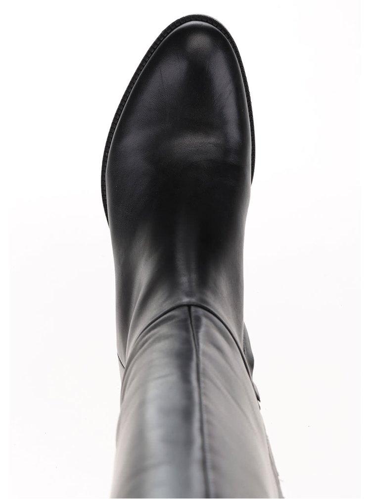 Černé kožené kozačky s detaily Geox Donna Mendit