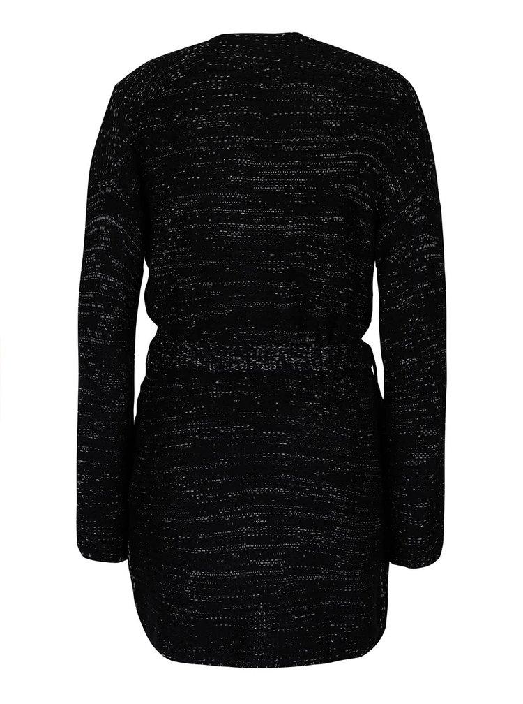 Černý žíhaný cardigan s páskem TALLY WEiJL