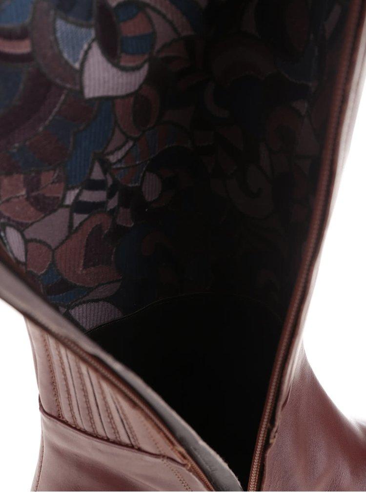 Hnědé kozačky s detaily Geox Donna Mendit