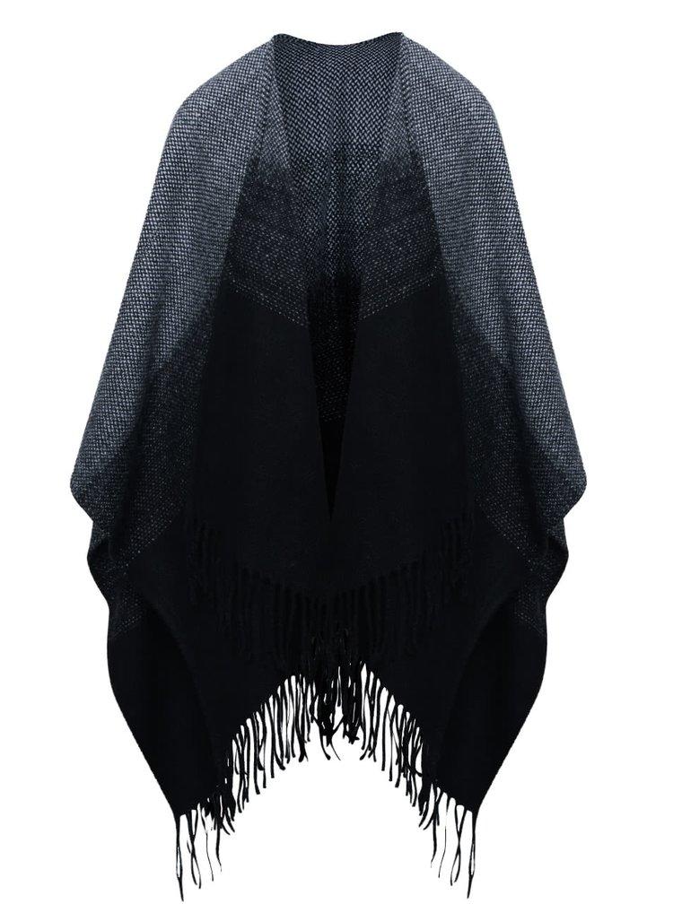 Čierno-sivé pončo so strapcami ONLY Soby