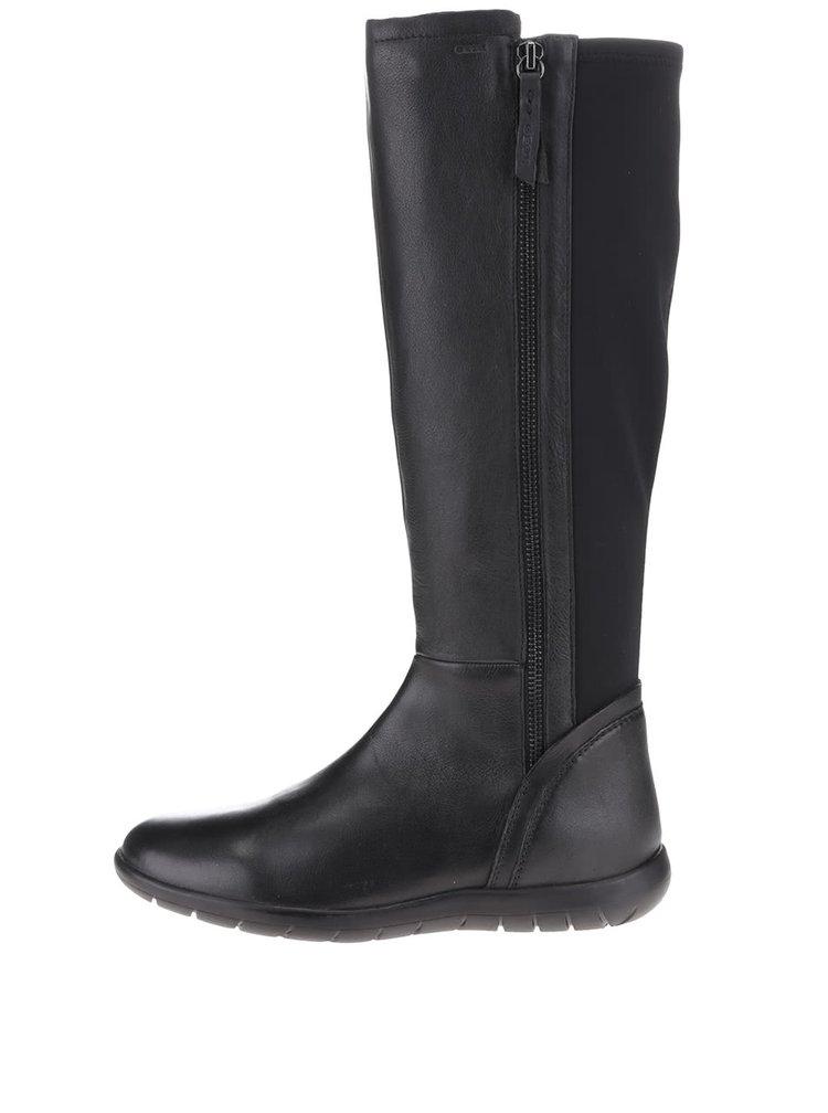 Černé kožené dámské kozačky s elastickým pásem Geox Lenilla