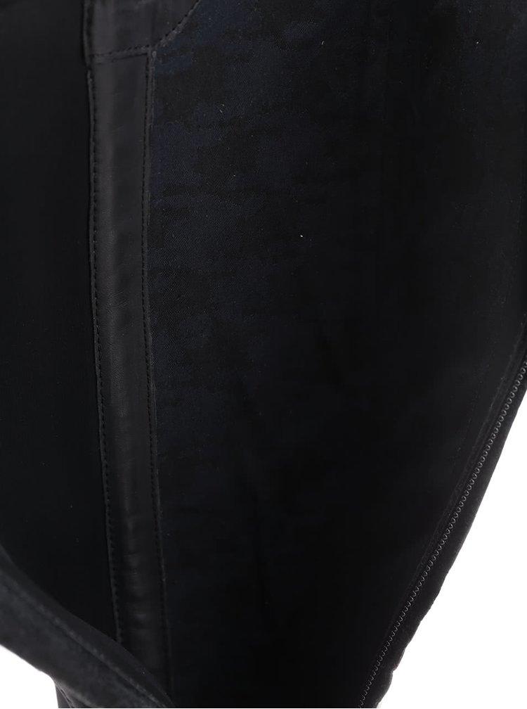 Čierne kožené dámske čižmy s elastickým pásom Geox Lenilla
