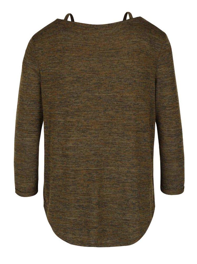 Tmavozelené melírované tričko s 3/4 rukávom TALLY WEiJL