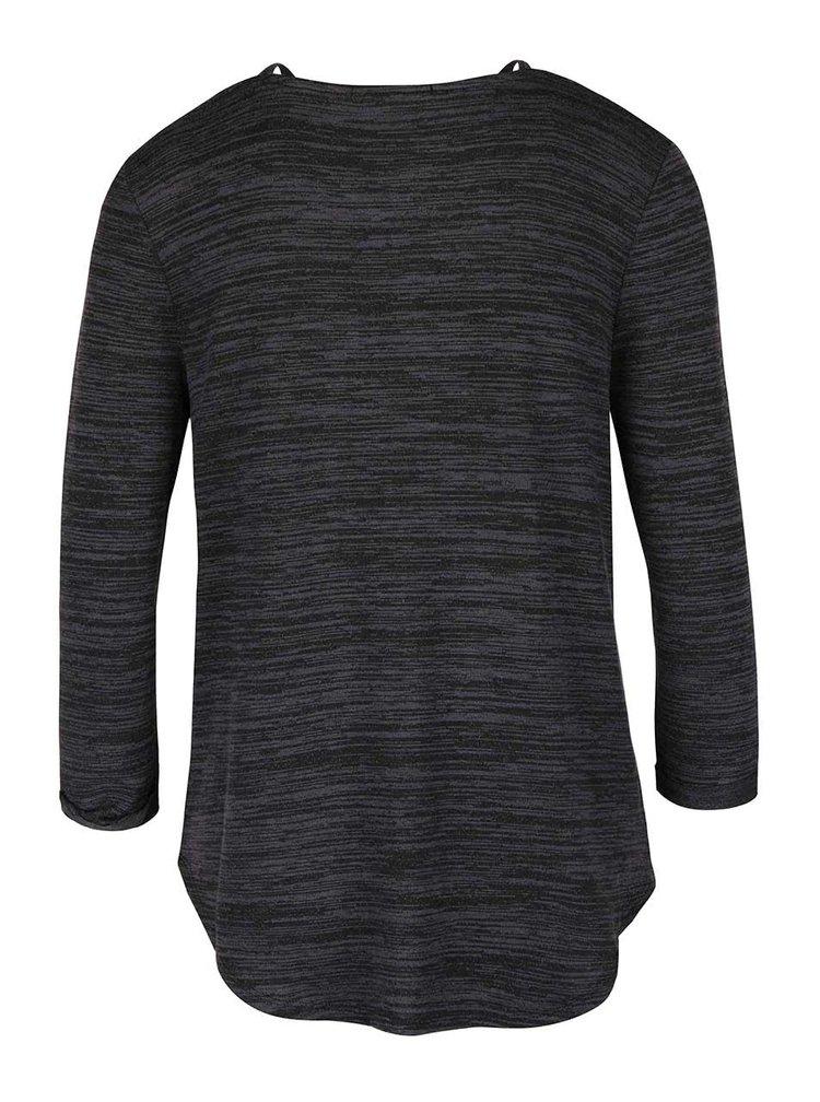 Tmavě šedé žíhané tričko 3/4 rukávem TALLY WEiJL