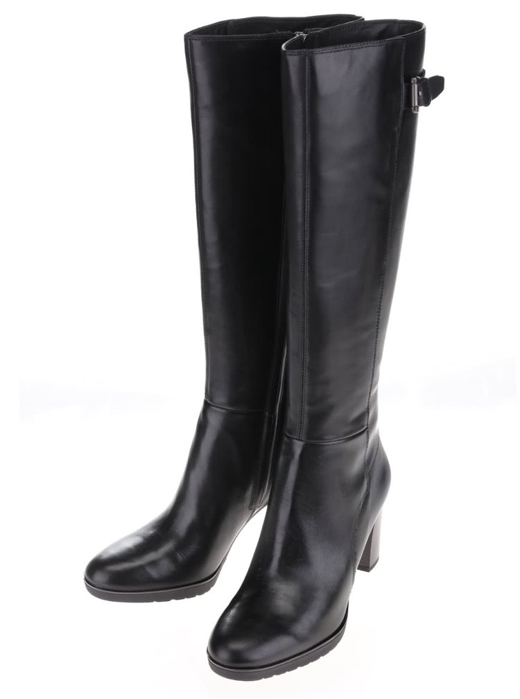 Černé kožené kozačky na podpatku Geox Raphal Mid C