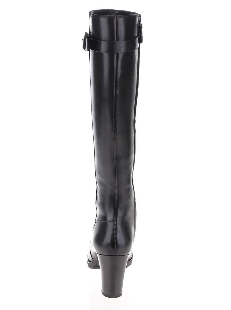 Čierne kožené čižmy na podpätku Geox Raphal Mid C