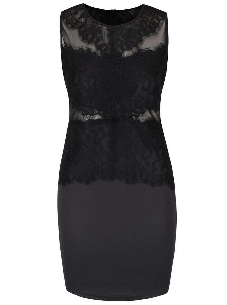 Černé přiléhavé šaty s krajkou AX Paris