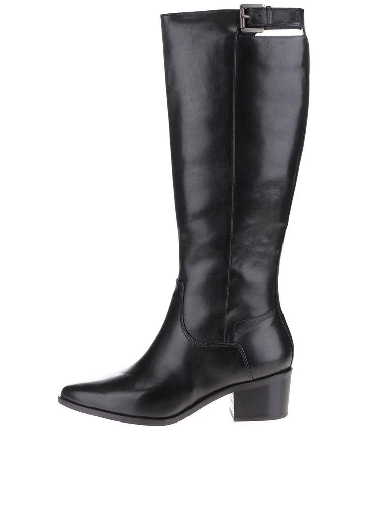 Čierne kožené vysoké čižmy na podpätku Geox Lia