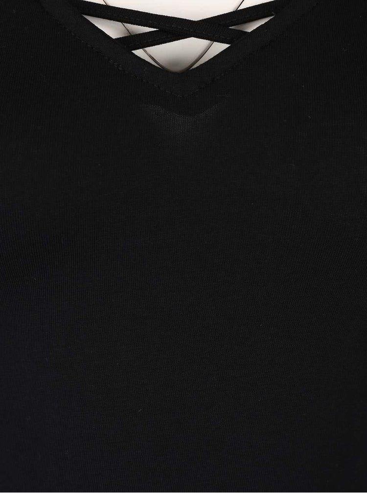 Černé tričko s pásky v dekoltu TALLY WEiJL