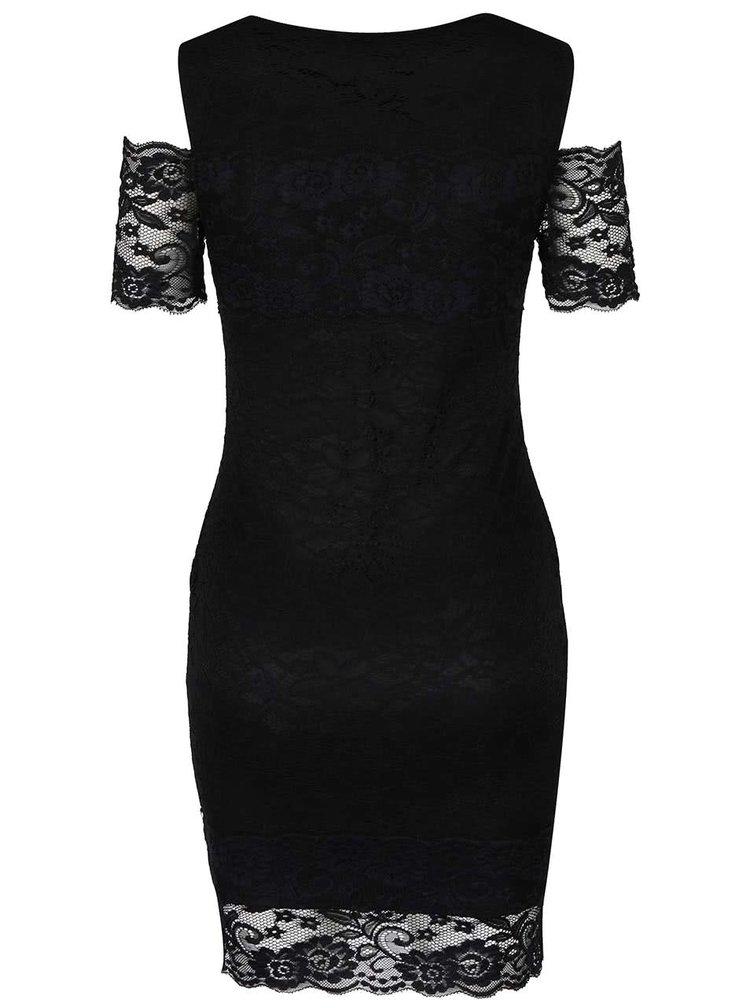 Černé šaty s krajkou a odhalenými rameny AX Paris