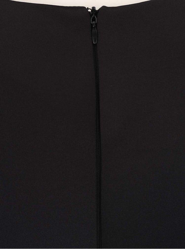 Čierne priliehavé šaty so sieťovanými rukávmi AX Paris