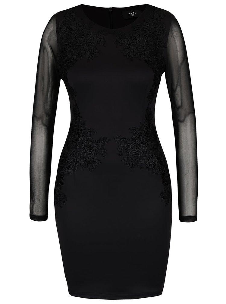 Rochie neagră AX Paris cu mâneci transparente