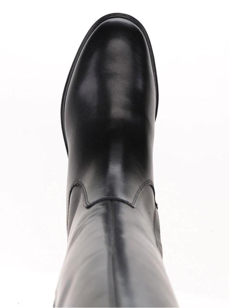Černé kožené kozačky s gumou na lýtku Geox Peaceful