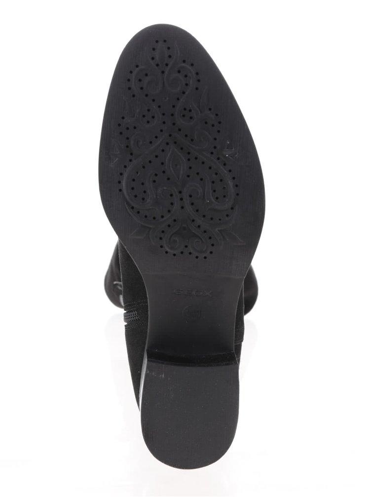 Černé dámské semišové kožené kozačky Geox Mendi