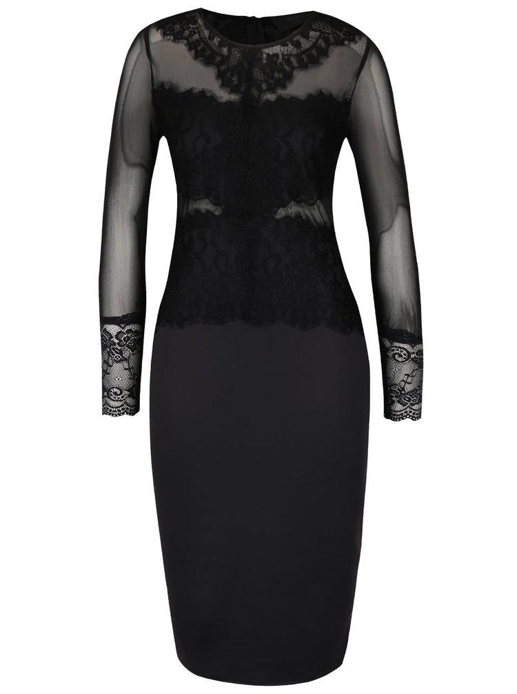 Čierne priliehavé šaty s dlhým rukávom AX Paris