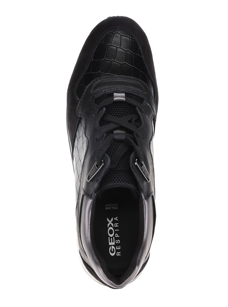 Čierne dámske kožené tenisky so vzorom Geox Shahira