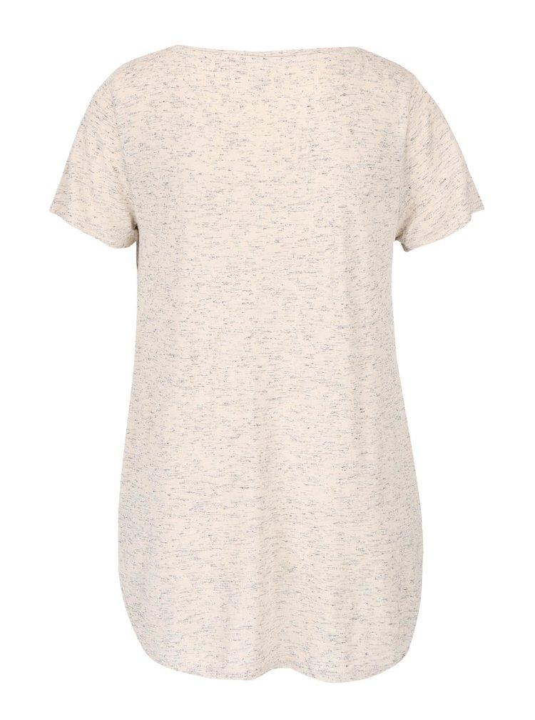 Krémové žíhané tričko s nášivkou ONLY Helle