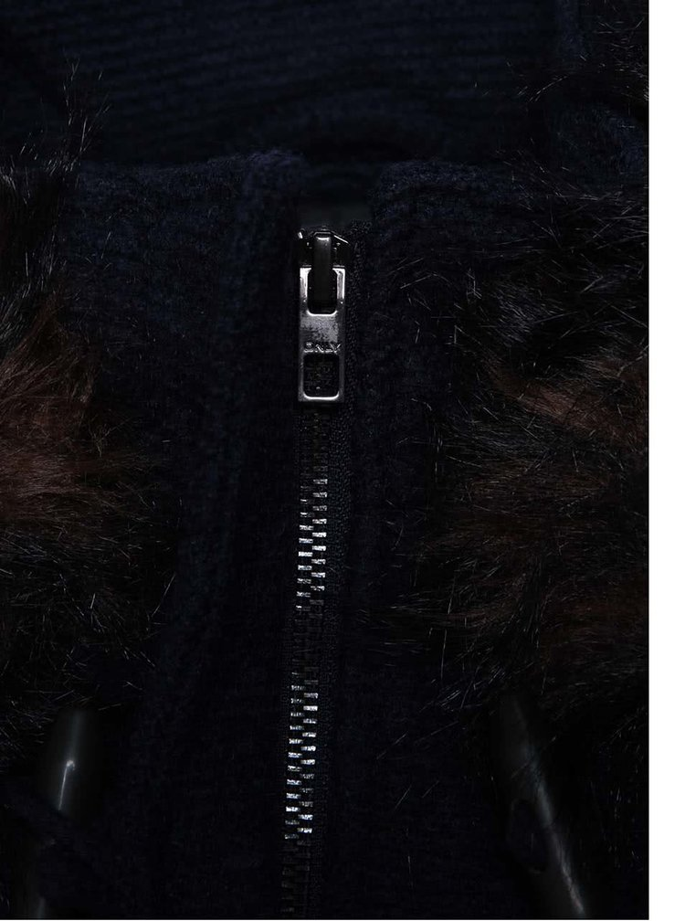 Tmavomodrý vlnený kabát s kapucňou a umelým kožúškom ONLY Yatta