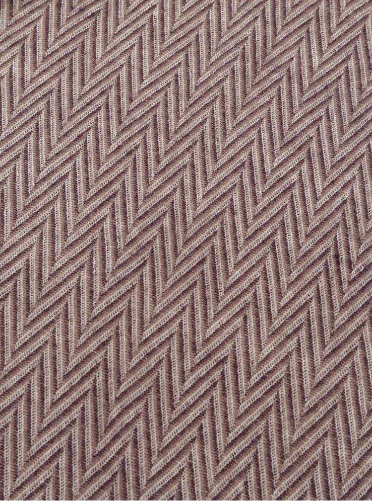Krémovo-hnědá vzorovaná šála s třásněmi ONLY Allison
