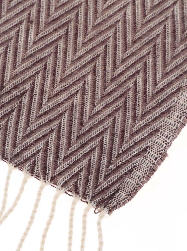 Krémovo-hnedý vzorovaný šál so strapcami ONLY Allison