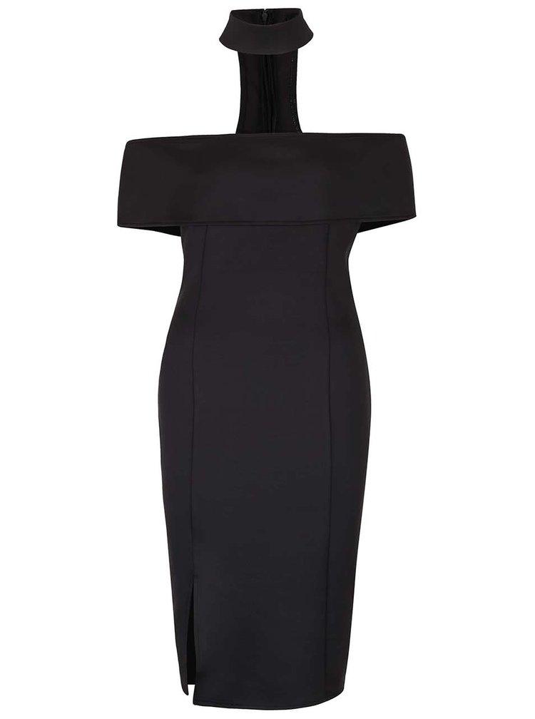 Černé šaty s chokerem a odhalenými rameny AX Paris