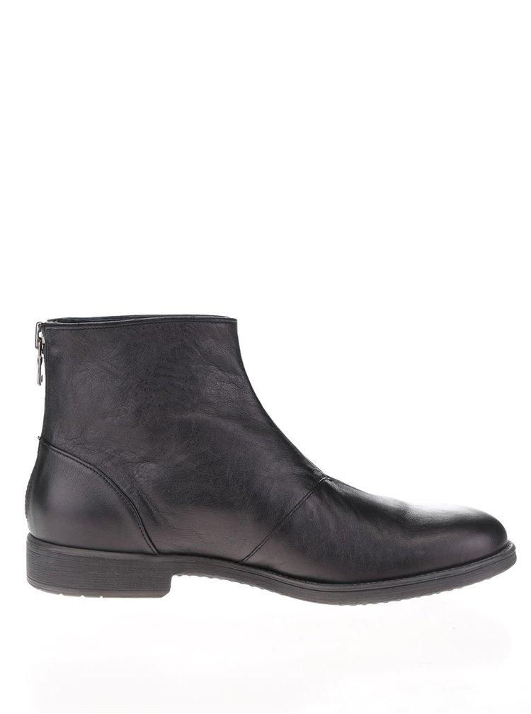 Černé pánské kožené kotníkové boty Geox Jaylon