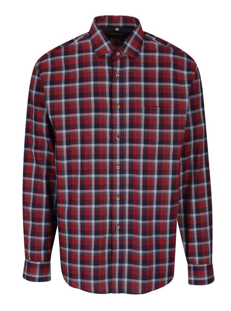Vínová kostkovaná pánská košile Seven Seas