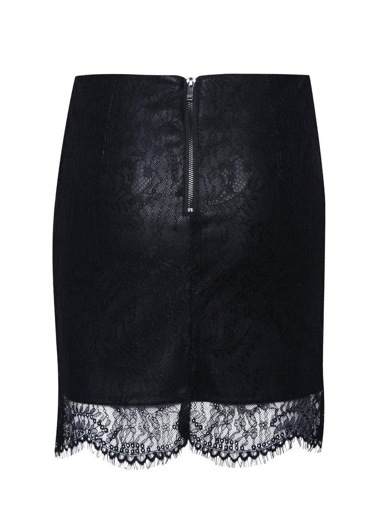 Čierna koženková sukňa s čipkou ONLY Sara