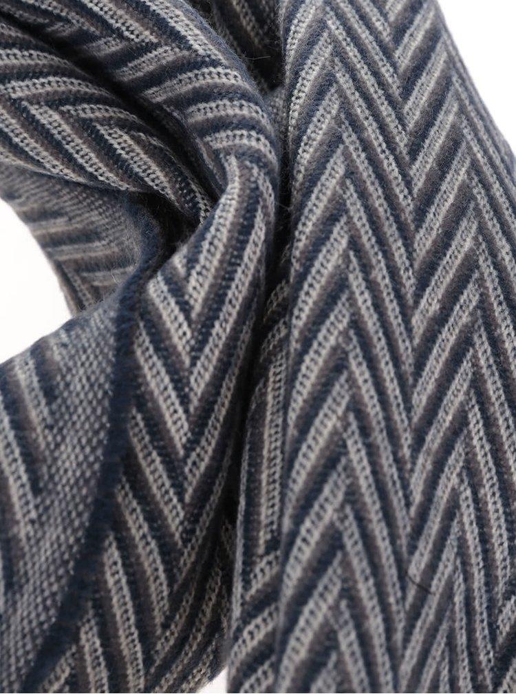 Krémovo-modrá vzorovaná šála s třásněmi ONLY Allison