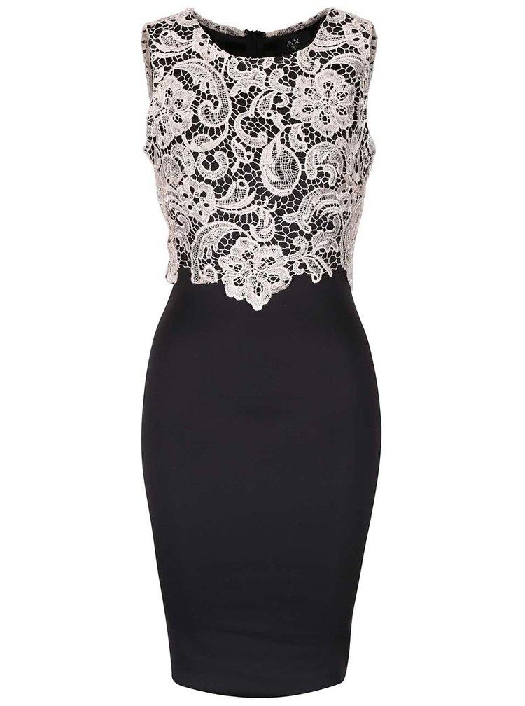 Krémovo-černé šaty s krajkovým topem AX Paris
