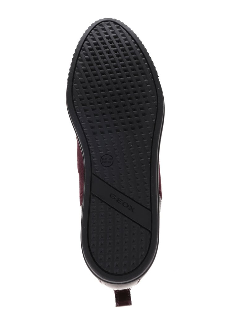 Černo-vínové dámské semišové kotníkové boty Geox Amalthia F
