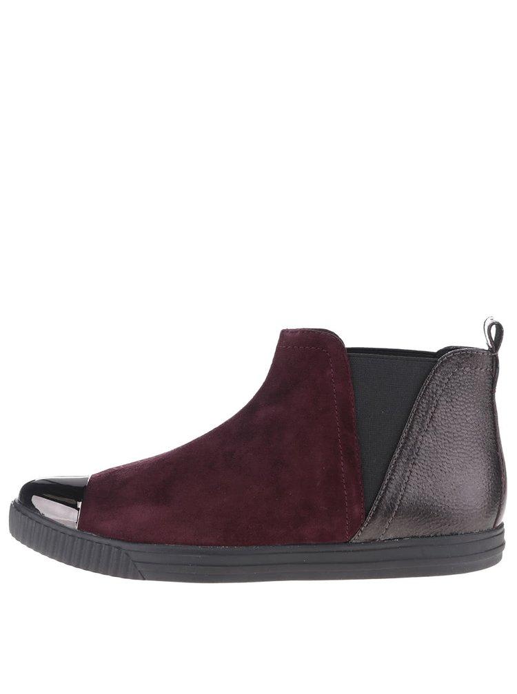 Čierno-vínové dámske semišové členkové topánky Geox Amalthia F