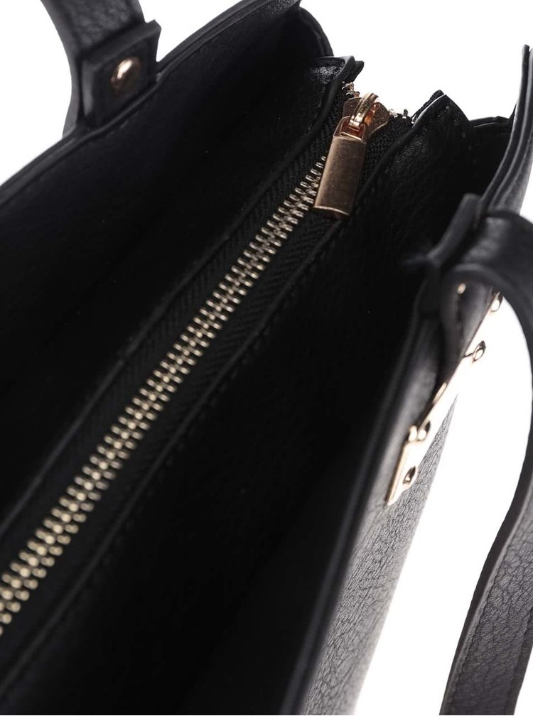 Černý shopper se zipem a detaily ve zlaté barvě ONLY Alse