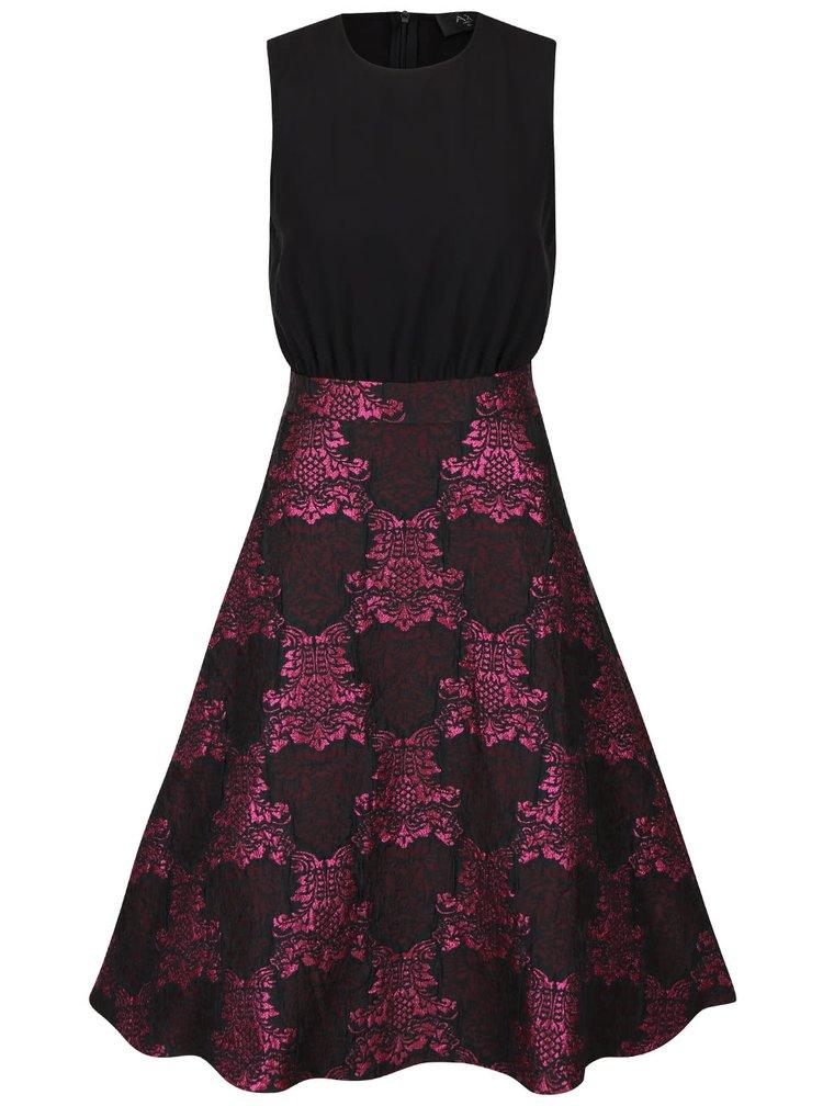 Čierno-ružové šaty so vzorovanou sukňou AX Paris