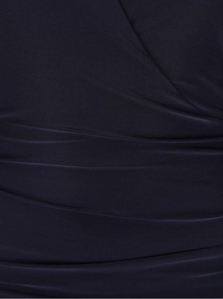 Rochie bleumarin satinată AX Paris cu croi suprapus și mulat