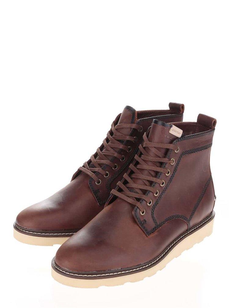 Tmavě hnědé pánské kožené kotníkové boty Pointer Kane