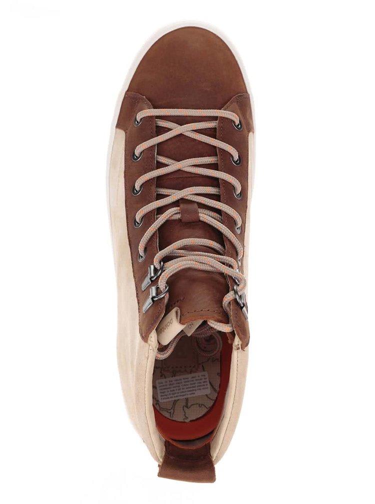 Béžové pánske semišové členkové topánky s hnedými detailmi Pointer Soma