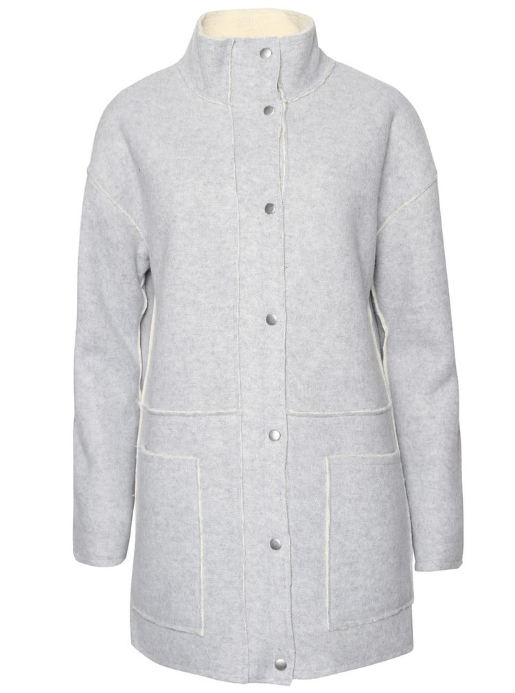 Šedý kabát ICHI Temoz