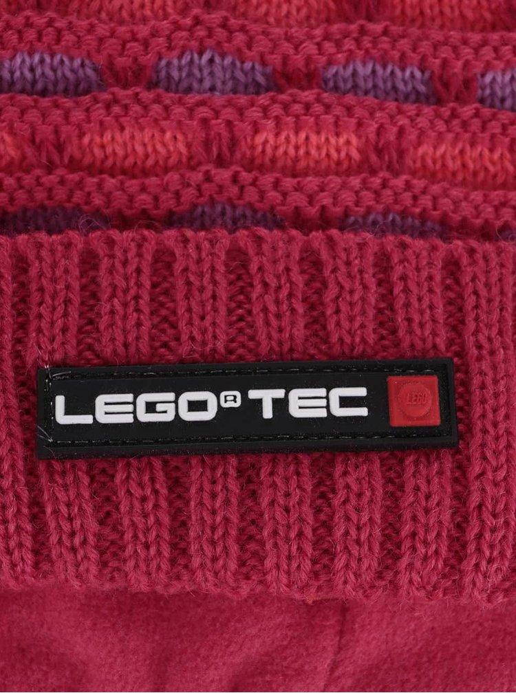 Tmavě růžová holčičí vzorovaná čepice LEGO Wear Ace
