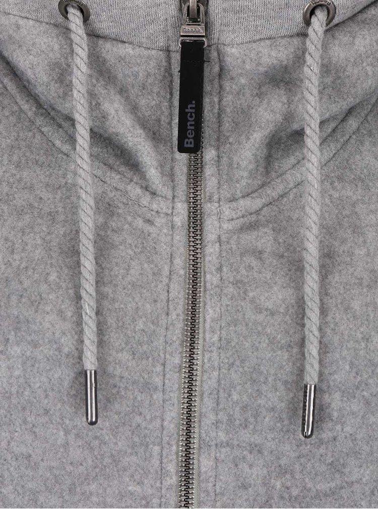 Sivá fleecová dámska dlhá mikina s kapucňou Bench Dais