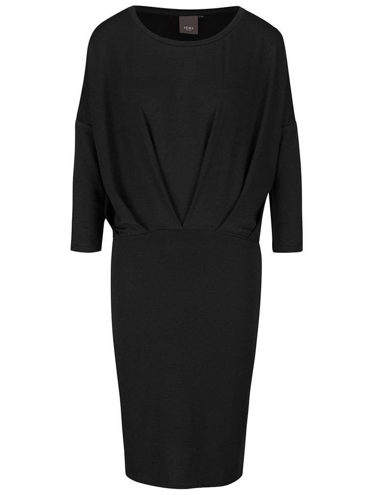 Černé šaty s volným topem ICHI Joanna