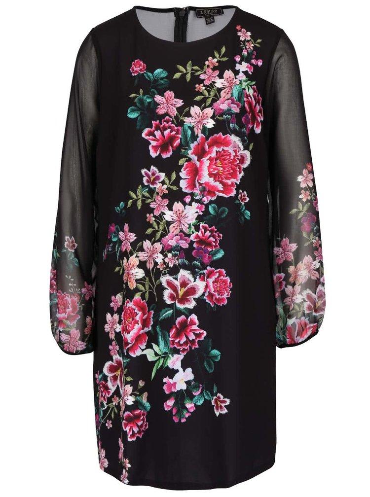 Čierne kvetované šaty s priesvitnými rukávmi Lipsy